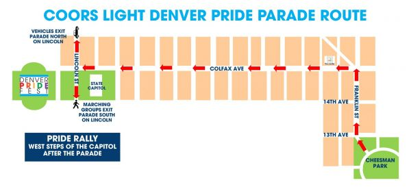 Coors Light Denver Pride Parade Route