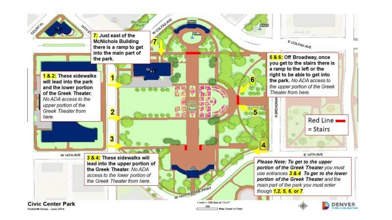 ADA Map and Info at Civic Center Park